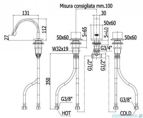 Paffoni Bateria bidetowa stojąca 3-elementowa Level Piatta LEP119CR
