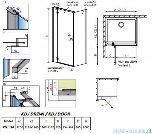 Radaway Essenza New Kdj drzwi 120cm lewe szkło przejrzyste 385042-01-01L