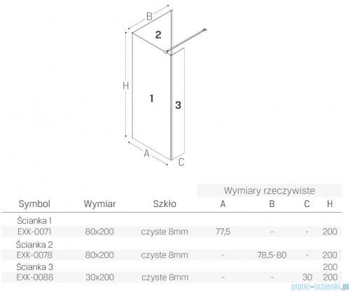 New Trendy New Modus Black kabina kwadratowa Walk-In 80x80cm przejrzyste EXK-0071/EXK-0078/EXK-0088