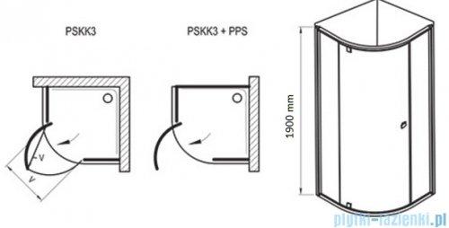 Ravak Pivot PSKK3 kabina półokrągła 90x90 aluminium transparent Anticalc 37677C00Z1
