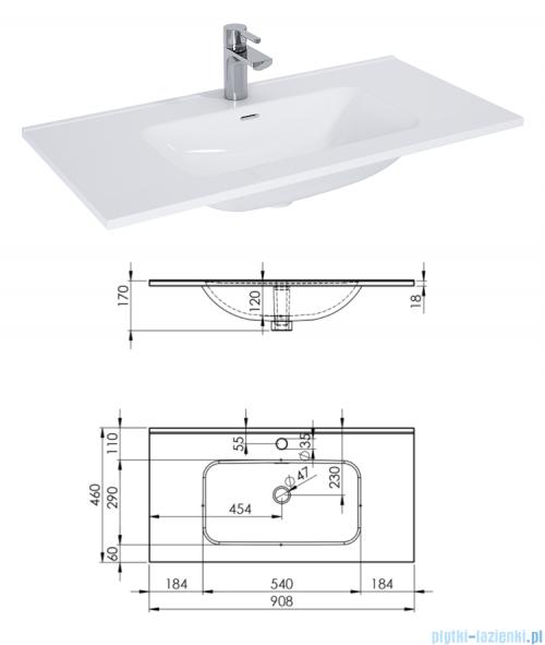 Elita Futuris szafka z umywalką 90x37x45cm anthracite 167238/145845