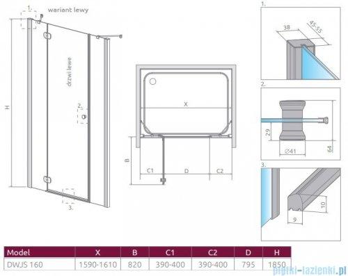 Radaway Torrenta Dwjs drzwi wnękowe 160 lewe szkło przejrzyste 320812-01-01L/320343-01-01