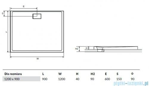 Excellent Zero Brodzik 120X90 prostokątny z pokrywą biały