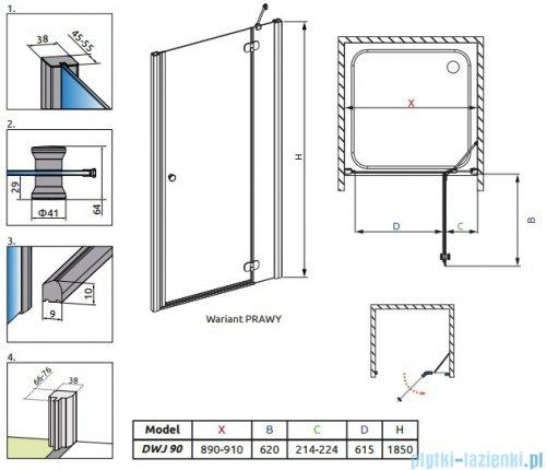 Radaway Torrenta DWJ drzwi wnękowe 90 prawe szkło przejrzyste 32000-01-01N