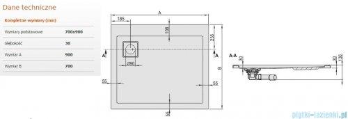 Sanplast Space Line brodzik prostokątny 90x70x3cm+syfon 615-110-0610-01-000