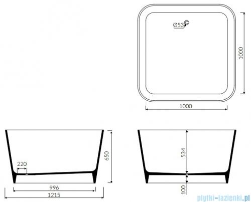 Marmorin Balia wanna kwadratowa wolnostojąca 121x121cm biała 590120020010
