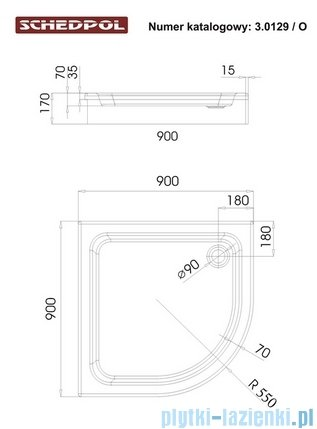 Schedpol Grando Plus Brodzik półokrągły 90x90x17cm 3.0129