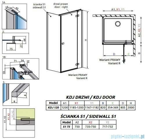 Radaway Fuenta New Kdj kabina 120x75cm prawa szkło przejrzyste rysunek techniczny