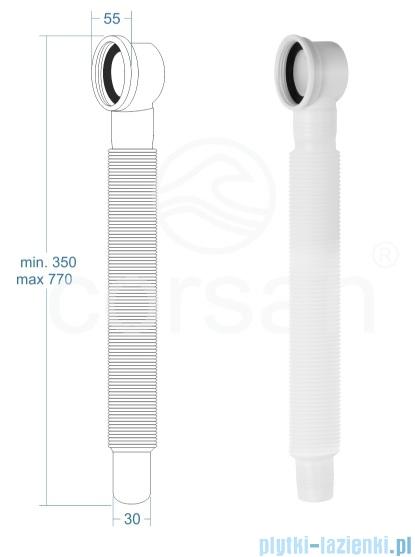 Corsan Mono wanna wolnostojąca przyścienna 160x75 cm biała + syfon klik-klak E-030L