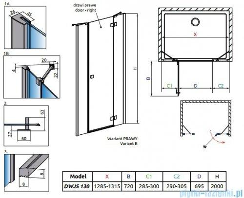 Radaway Essenza New DWJS drzwi wnękowe 130cm prawe szkło przejrzyste 385032-01-01R/384090-01-01