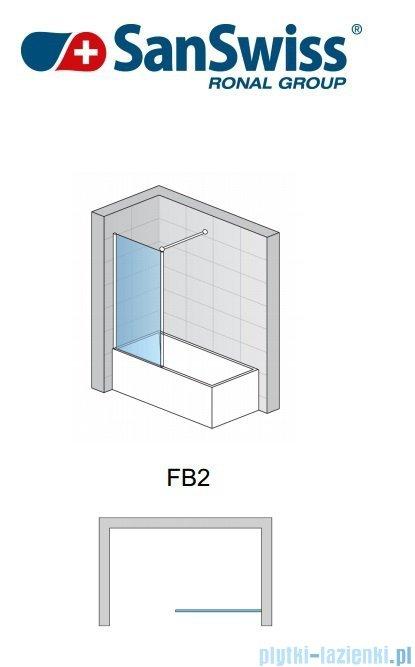 SanSwiss Fun Fb2 Ścianka 1-częściowa nawannowa 30-100cm profil połysk FB2SM15007