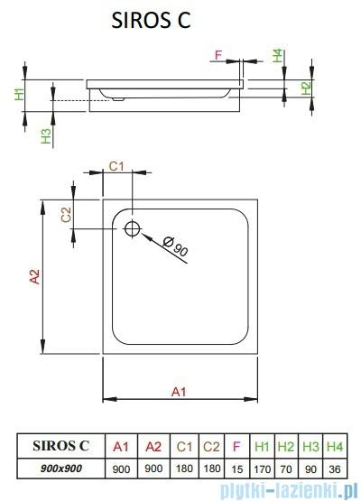 Radaway Brodzik kwadratowy Siros C 90x90 na podstawie styropianowej SBC9917-1