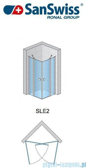 SanSwiss Swing Line SLE2 Wejście narożne 100cm profil połysk Prawe SLE2D10005007