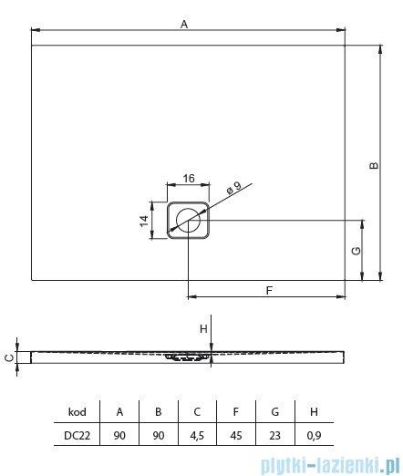 Riho Basel 412 brodzik kwadratowy czarny mat 90x90x4,5cm DC2217