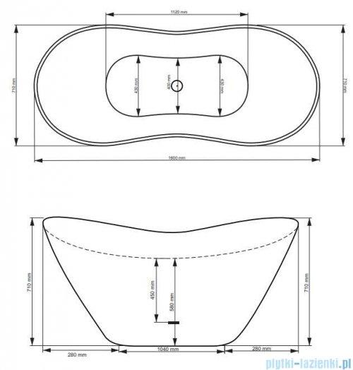 Besco Viya Glam złota 160x70cm wanna wolnostojąca + odpływ klik-klak #WMD-160-VZ