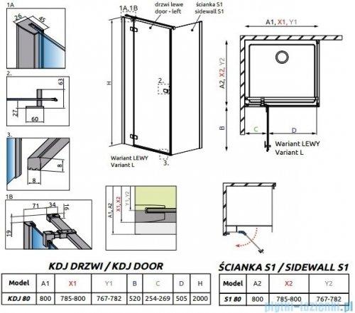 Radaway Essenza New Kdj kabina 80x80cm lewa szkło przejrzyste + brodzik Doros C + syfon