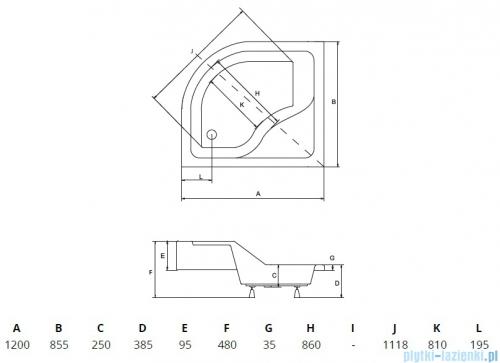 Piramida Maxi Brodzik 120x85cm asymetryczny z siedziskiem lewy