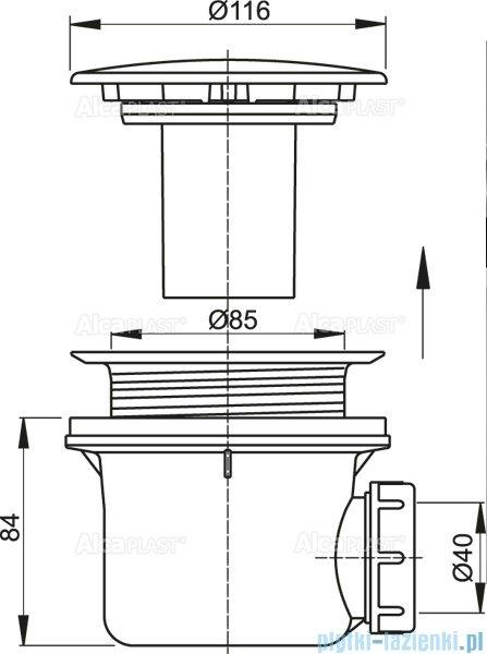 Alcaplast syfon brodzikowy Ø90 korek, metalowy LUX A49K