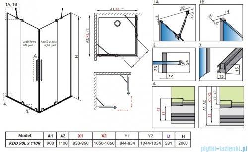 Radaway Furo Black KDD kabina 90x110cm szkło przejrzyste 10105090-54-01L/10105110-54-01R