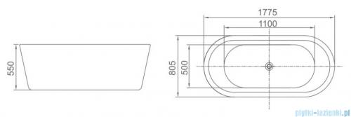 ScandiBath Urdur wanna wolnostojąca 177x80cm + syfon  wizualizacja