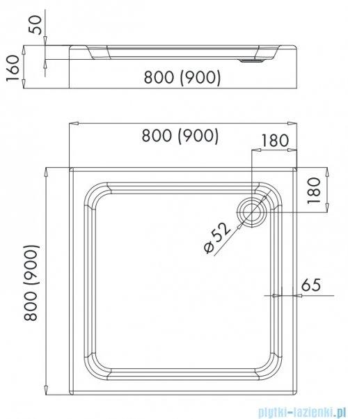Omnires Invest Project brodzik kwadratowy zintegrowany z obudową 80x80x16 cm InvestProject80/K