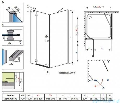 Radaway Torrenta Kdj Kabina prysznicowa 90x100 lewa szkło grafitowe 32240-01-05NL