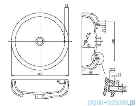 Koło Ego umywalka 45cm okrągła stawiana na blat z powłoką Reflex K12145900