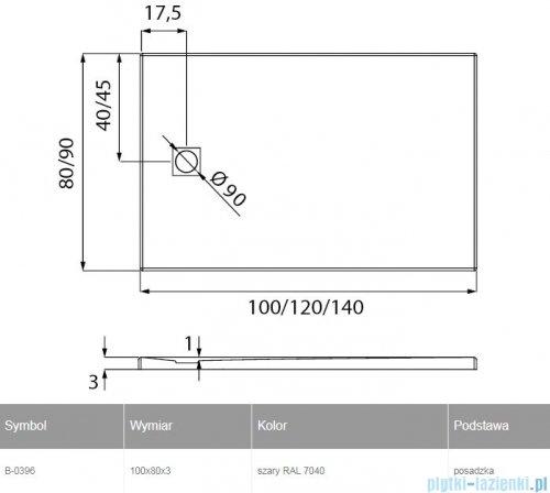 New Trendy Mori brodzik prostokątny z konglomeratu 100x80x3 cm szary B-0396