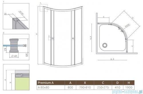 Radaway  Premium A Kabina półokrągła 80x80x190 szkło satinato 30413-01-02