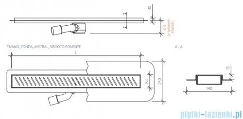 Wiper New Premium Tivano Odpływ liniowy z kołnierzem 50 cm mat rysunek techniczny