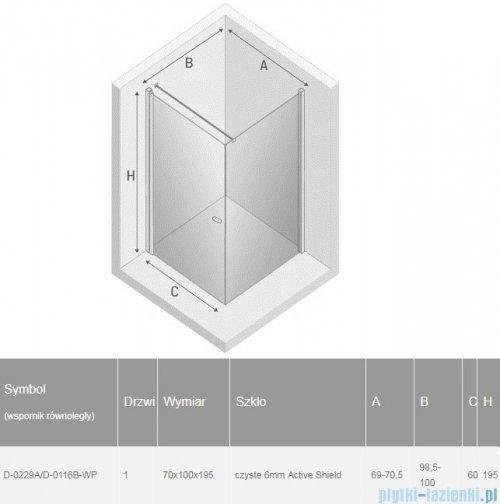 New Trendy New Soleo Black 70x100x195 cm kabina prostokątna wspornik równoległy przejrzyste rysunek techniczny