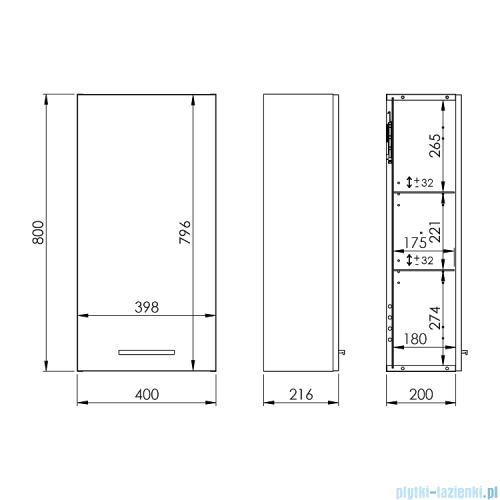 Elita Kwadro Plus szafka wisząca 40x80x21cm biały 166722