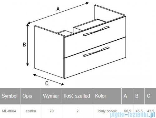 New Trendy Notti szafka umywalkowa 70 cm biały połysk ML-8084