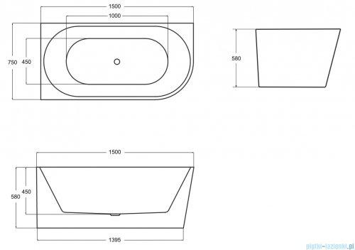 Besco Zoya 150x75cm wanna asymetryczna z obudową lewa + syfon #WAS-150-ZL
