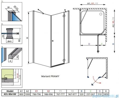 Radaway Torrenta Kdj Kabina prysznicowa 80x100 prawa szkło przejrzyste rysunek techniczny