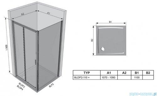 Ravak Blix BLDP2 drzwi prysznicowe 110cm aluminium transparent Anticalc 0PVD0C00Z1