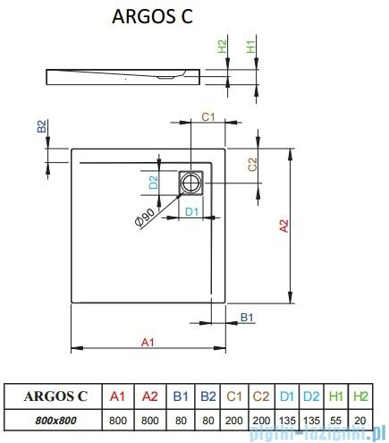 Radaway Brodzik kwadratowy Argos C 80x80x5,5 cm 4AC88-01
