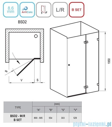 Ravak Brilliant BSD2 drzwi prysznicowe 90cm prawe transparent 0UP7AA00Z1