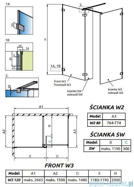 Radaway Euphoria Walk-in III kabina 120x80cm szkło przejrzyste 383134-01-01/383120-01-01/383160-01-01