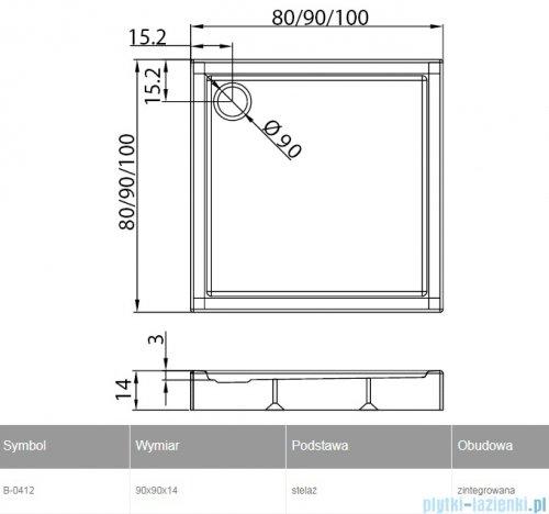 New Trendy Columbus brodzik kwadratowy zintegrowany 90x90x14cm B-0412