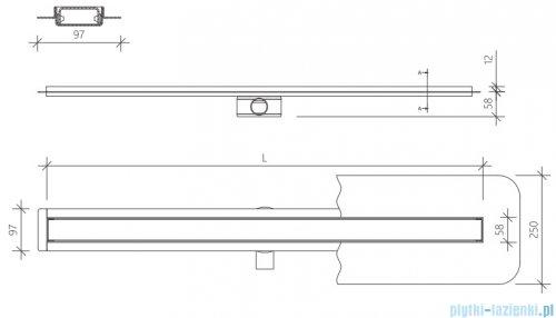 Wiper Premium Slim Pure odpływ liniowy 60 cm z kołnierzem RYSUNEK TECHNICZNY