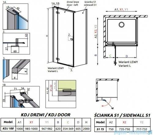 Radaway Essenza New Kdj kabina 100x75cm lewa szkło przejrzyste 385040-01-01L/384049-01-01