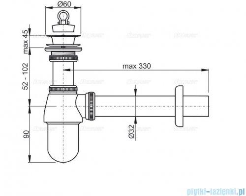 "Alcaplast syfon umywalkowy DN32 ze spustem 5/4"", metal A437"