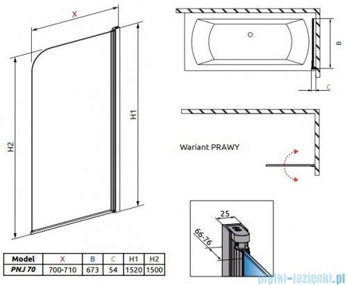 Radaway Eos PNJ Parawan nawannowy 70 prawy szkło przejrzyste 205101-101R