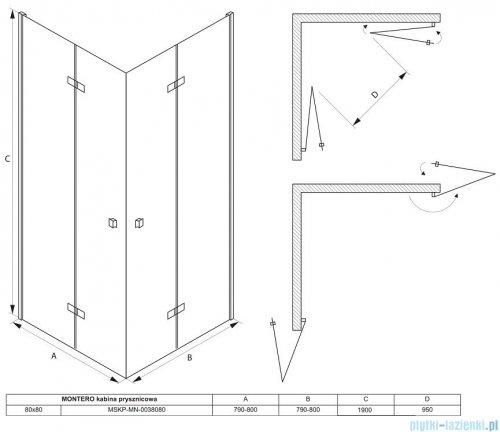 Massi Montero kabina kwadratowa bifold 80x80x190cm przejrzyste MSKP-MN-0038080