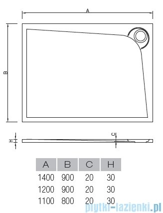 Vayer Bumerang 120x90cm Brodzik prostokątny z konglomeratu marmurowego lewy rysunek techniczny