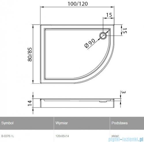 New Trendy New Maxima brodzik asymetryczny 120x85x14cm prawy B-0377/P