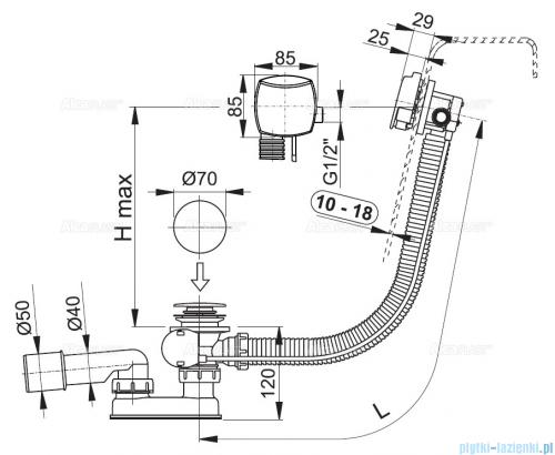 Alcaplast  syfon wannowy z funkcją napełniania przez przelew do wanien grubościennych, chrom A565KM1