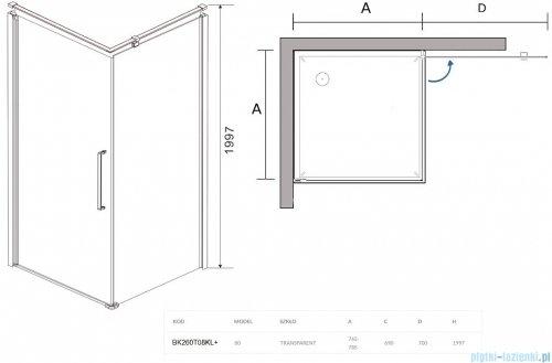 Sea Horse Fresh Line Black kabina natryskowa narożna kwadratowa 80x80cm lewa z powłoką przejrzyste BK260T08KL+