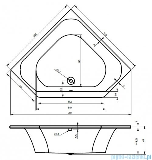 Riho Austin wanna symetryczna 145x145 z hydromasażem TOP Aero19 BA11T1